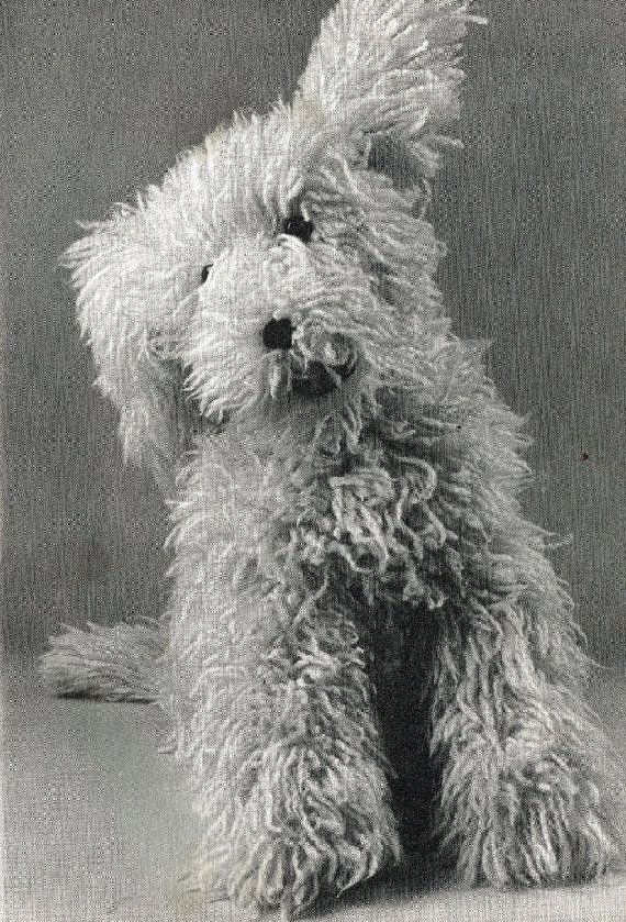 Shaggy dog toy vintage knitting pattern PDF instant download ...