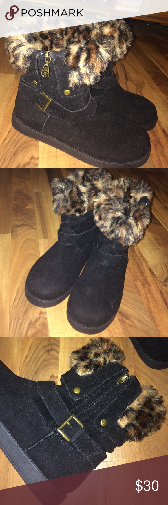 SALE! 🆕 Black & faux fur GUESS booties Super cute black and faux leopard fur lining with buckle detail and zipper entry. They've never been worn but somehow the zipper pull on the left boot is missing, doesn't affect the wear at all, you can still zip it up without a problem. G by Guess. Size 7. G by Guess Shoes Ankle Boots & Booties