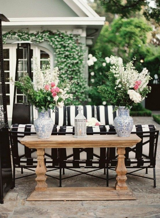 regency decor with black and white striped patio cushions ... on Black And White Backyard Decor id=52325