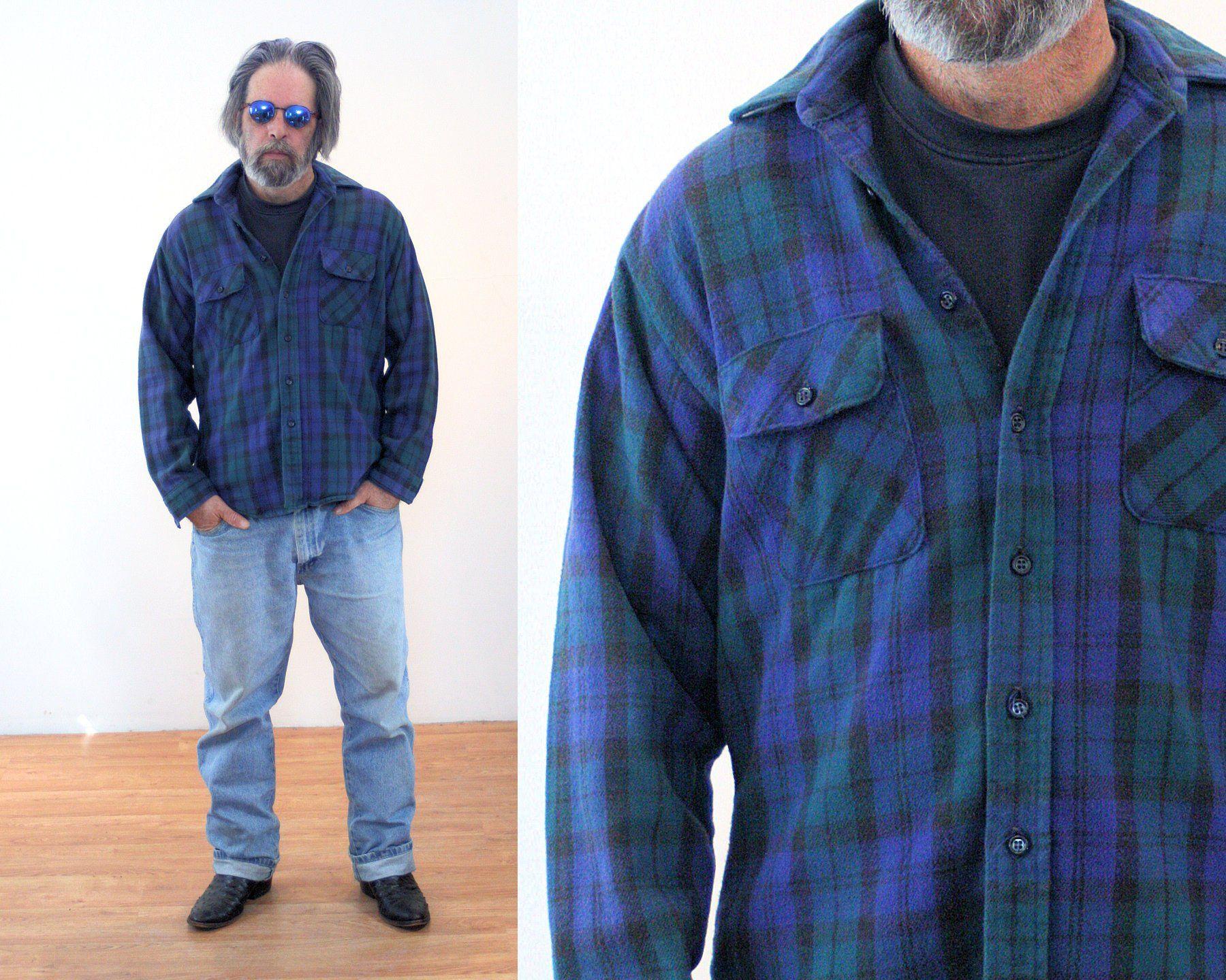 80s Five Brother Shirt L, Heavy Cotton Flannel Vintage Men's