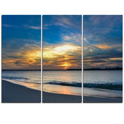 Design Art Bright Colorful Sydney Sky Over Beach 3 Piece Graphic Art On Wrapped Canvas Set Canvas Prints Multi Canvas Painting Triptych
