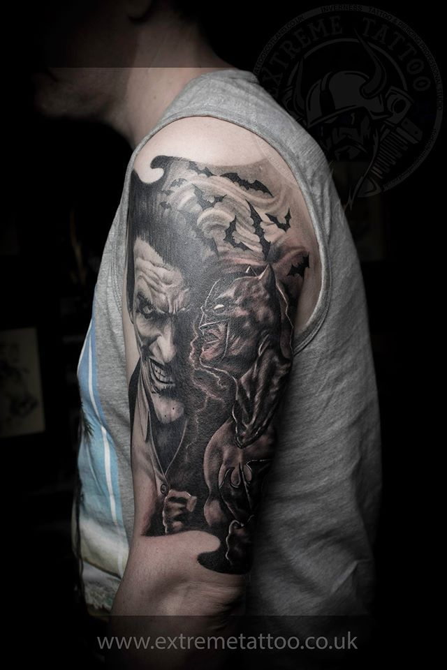 batman sleeve done at extreme tattoo piercing inverness highland scotland by gabi tomescu. Black Bedroom Furniture Sets. Home Design Ideas