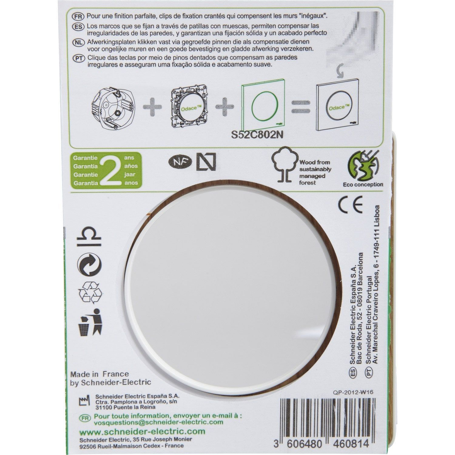 Plaque Simple Schneider Electric Odace Coloris Bois Naturel