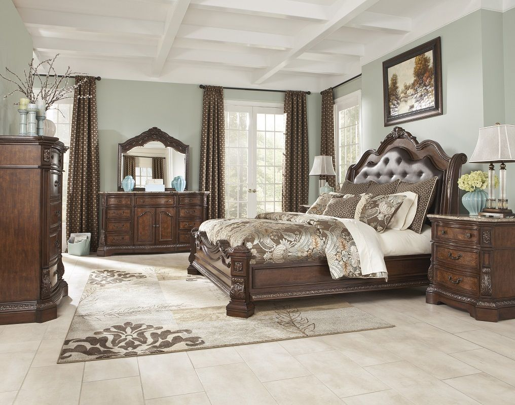 SKU B705-31-36-46-58-56-97-93-T-B traditional cherry and birch marquetry master bedroom group, queen / king bed, upholstered button tufted headboard, serpentine fronts, nightstand, dresser and bevel mirror, chest