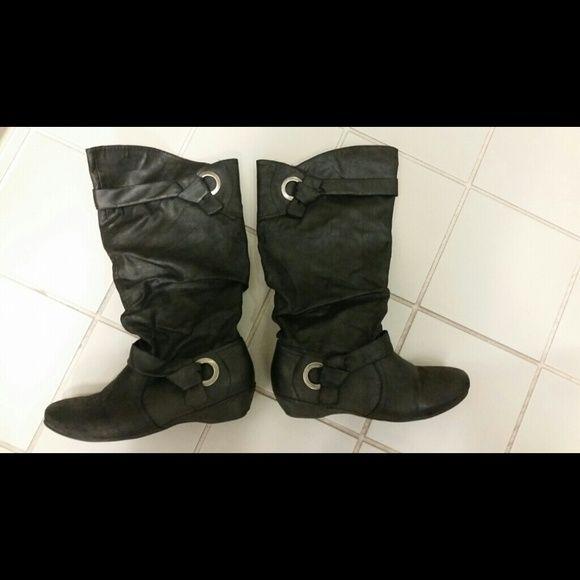 8b6424b0b0a16 Comfy Black Boots Sassy seldom black boots  flat (no heel)  super  comfortable  silver decor  man made material Yuu Shoes