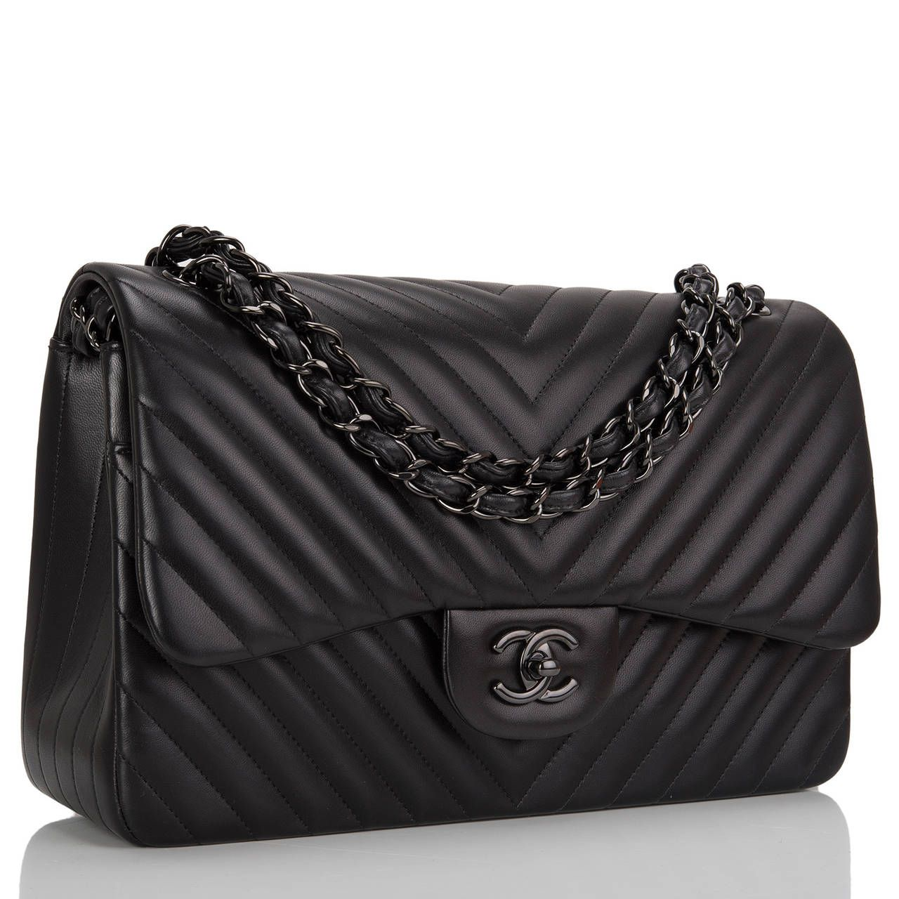 d1b7317f5f Chanel So Black Chevron Jumbo Double Flap Bag in 2019 | Purses ...