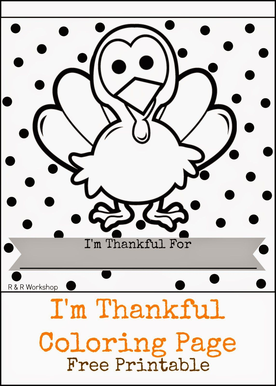 R & R Workshop: Kids Thanksgiving Coloring Page (Free Printable ...