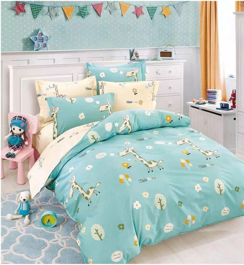 Bedding Set Kids 100/% Cotton Queen Twin Single Girls Boys Duvet Cover Set Sheet