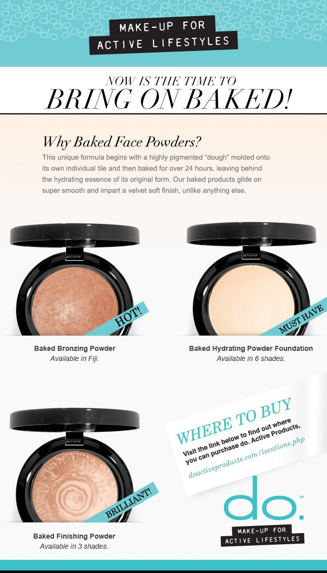 Bring on Baked! do. Active Make-Up's Baked Bronzing Powders glide on super smooth and impart a velvet soft finish, unlike anything else. It's a must-have for your summer make-up bag! #doactiveproducts #doactivemakeup