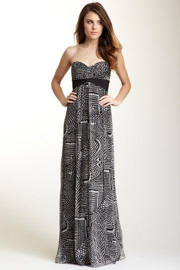 BCBGMAXAZRIA Silk Strapless Sweetheart Long Evening Dress
