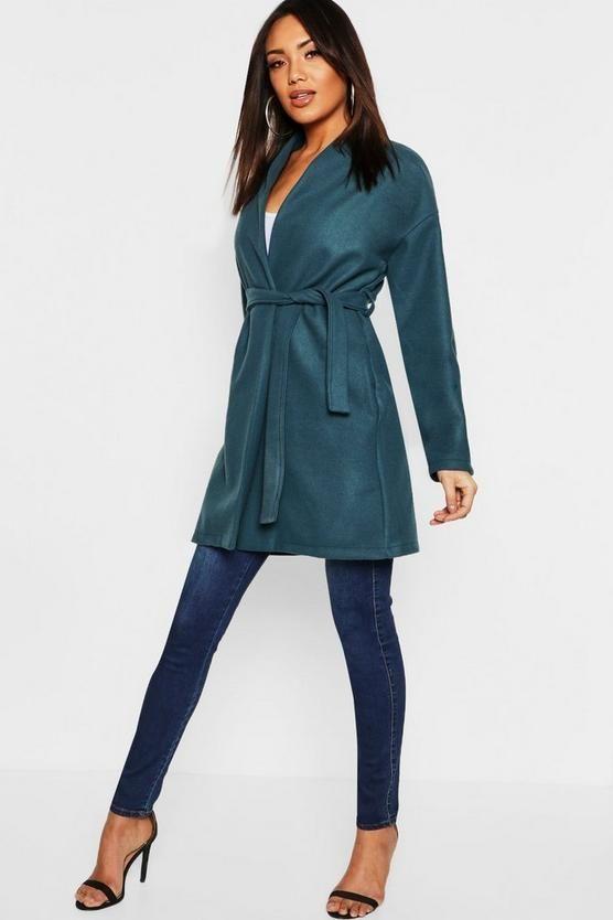 Abrigo cruzado en efecto lana sin cuello y con cinturón en