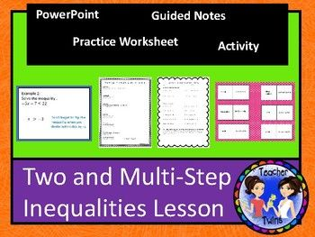 Two Step And Multi Step Inequalities Lesson Math Lessons