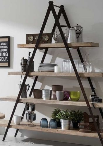 Scaffali In Ferro Industriali.Libreria Stile Industriale Scaffali In Legno Di Rovere E Struttura