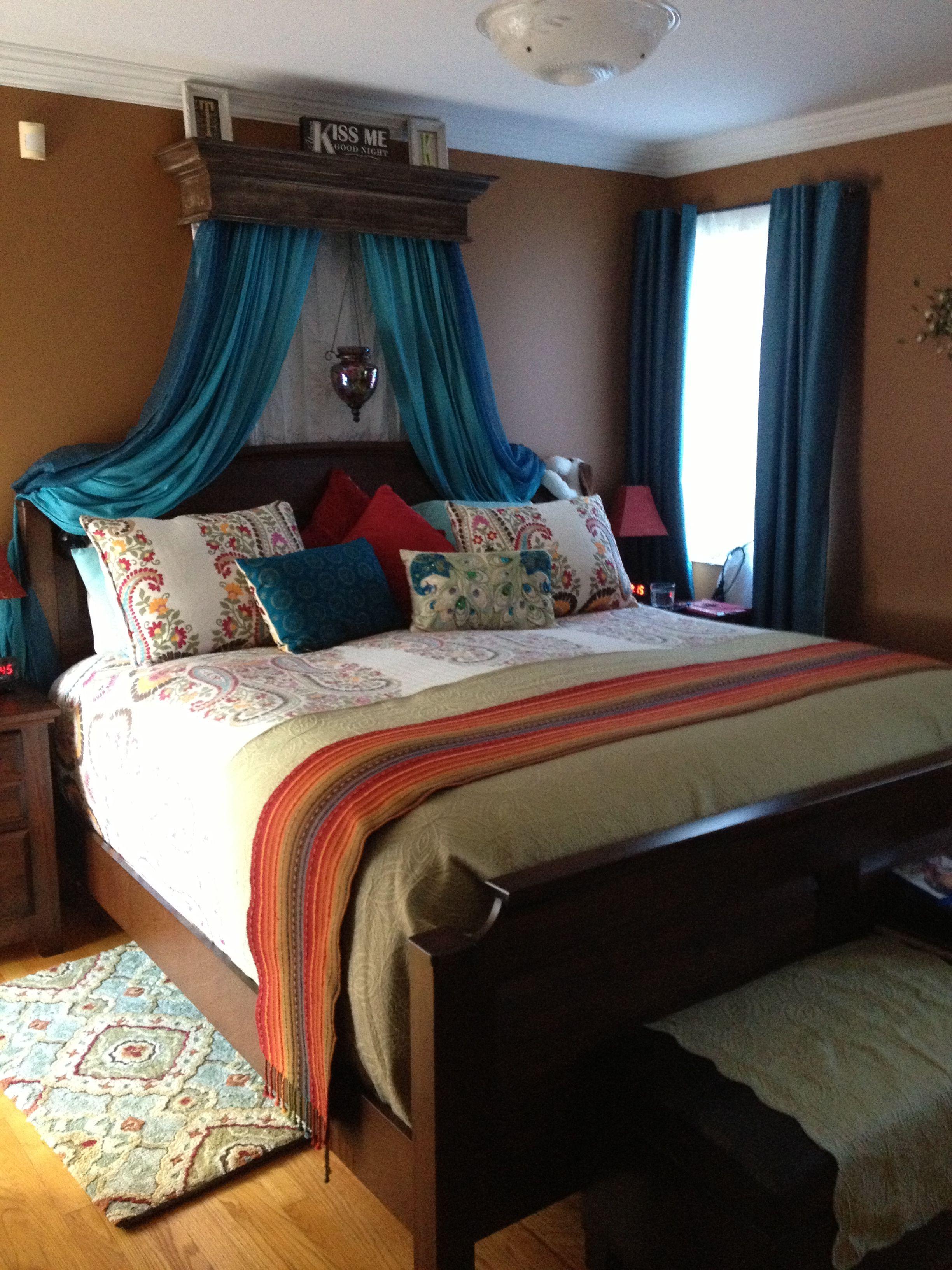 My bedroom.pier one lantern with led tea lights inside