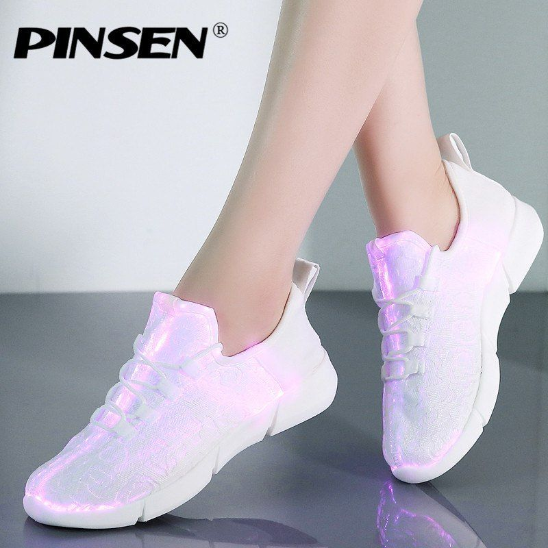 9ed9110754 PINSEN 2019 Fashion Glowing Sneakers Women Summer Mesh Breathable ...