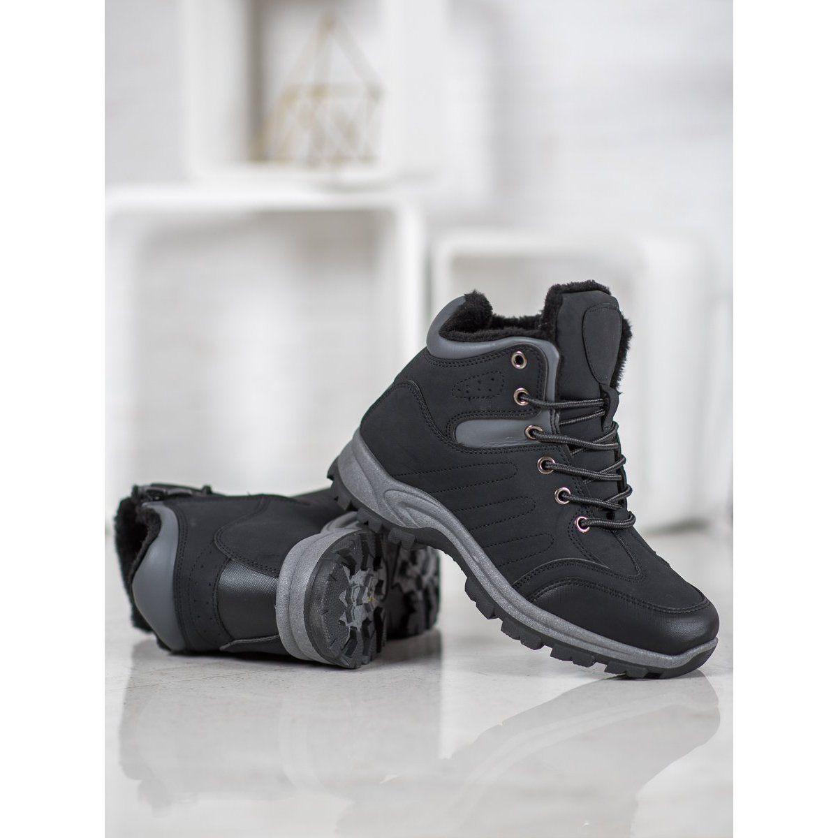 Shelovet Ocieplane Trapery Sportowe Czarne Boots Black Boots Women Womens Boots