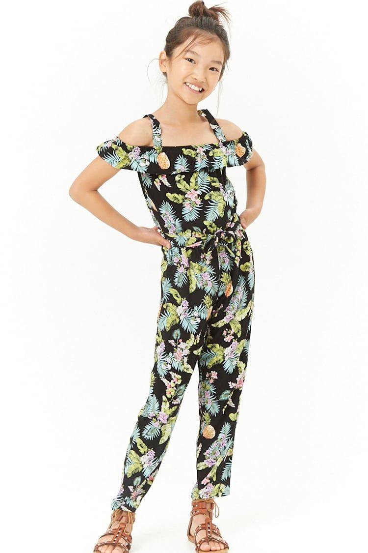 29572e5cb63 Girls Tropical Print Open-Shoulder Jumpsuit (Kids)