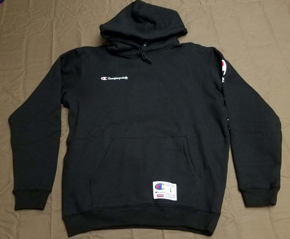Supreme Champion Hoodie Hooded Sweatshirt Fw16 Black Sz Large Fashion Clothing Shoes Accessories Menscloth Hooded Sweatshirts Champion Hoodie Sweatshirts [ 825 x 1000 Pixel ]
