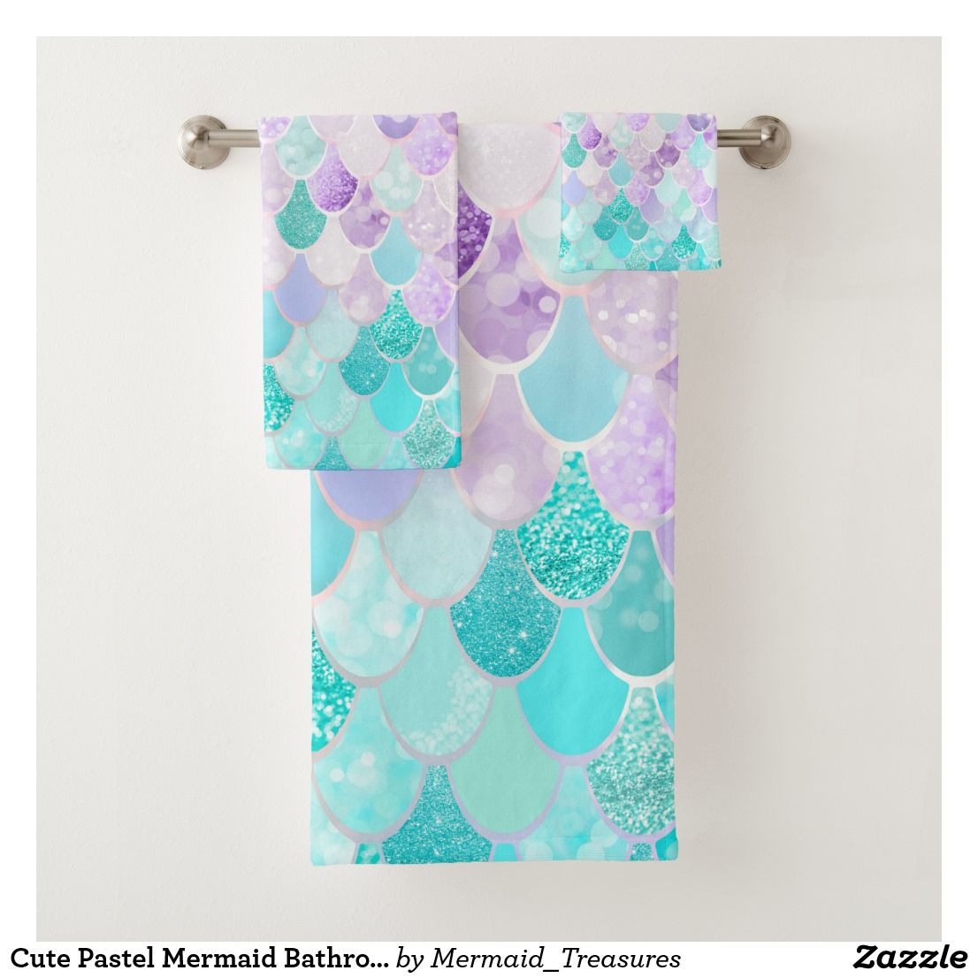 Cute Pastel Mermaid Bathroom Decor Towels | Zazzle.com