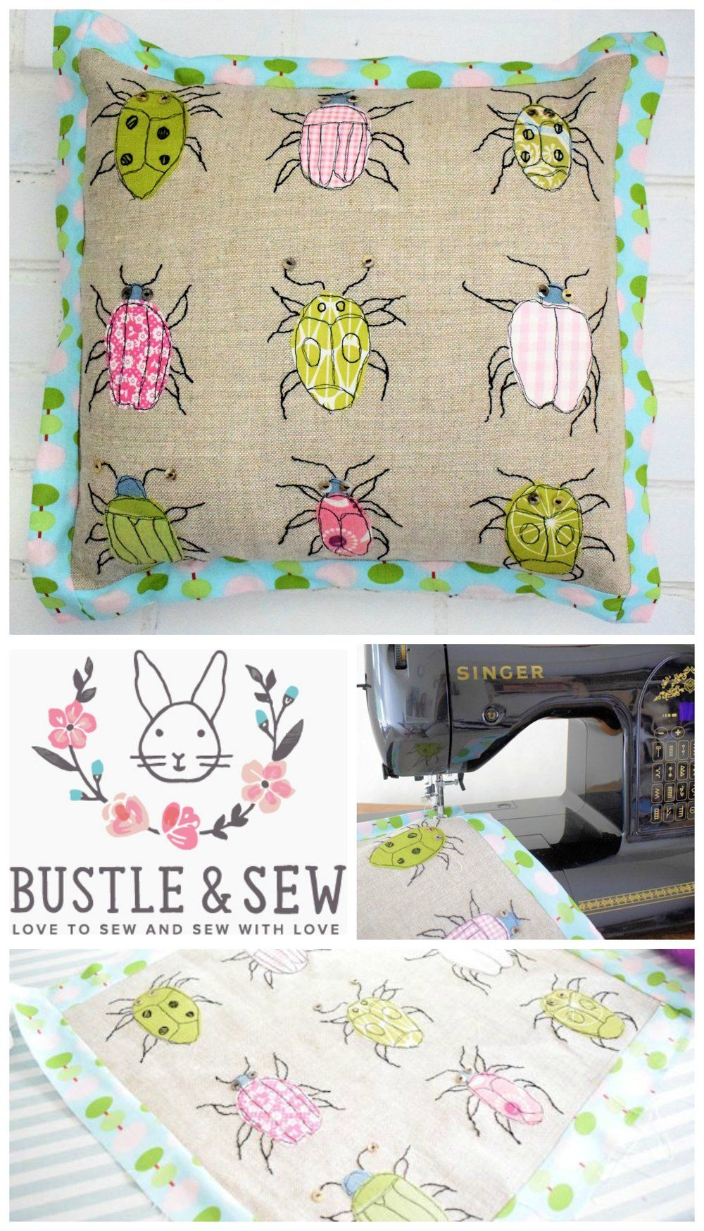 Adorable Bugs Cushion - free throw pillow sewing pattern! \u2014 SewCanShe   Free Daily Sewing & Adorable Bugs Cushion - free throw pillow sewing pattern!   Free ... pillowsntoast.com