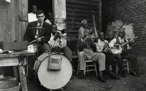 Stanley Kubrick on drums, George Lewis band, New Orleans, 1950