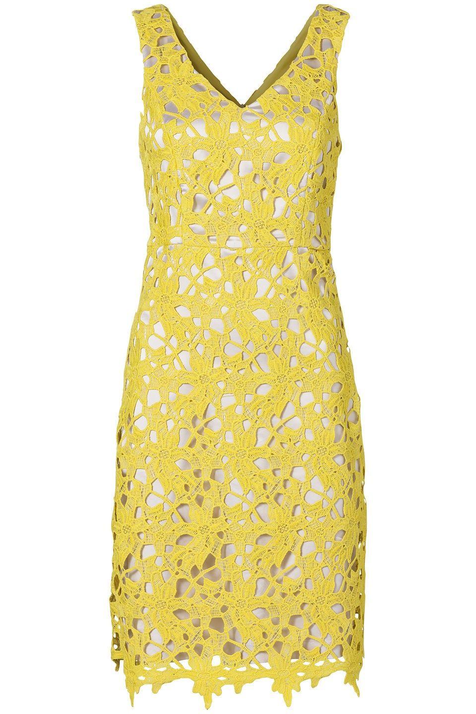 8b15bf41a9572d Kanten jurk met V-hals en brede schouderbanden Limegroen