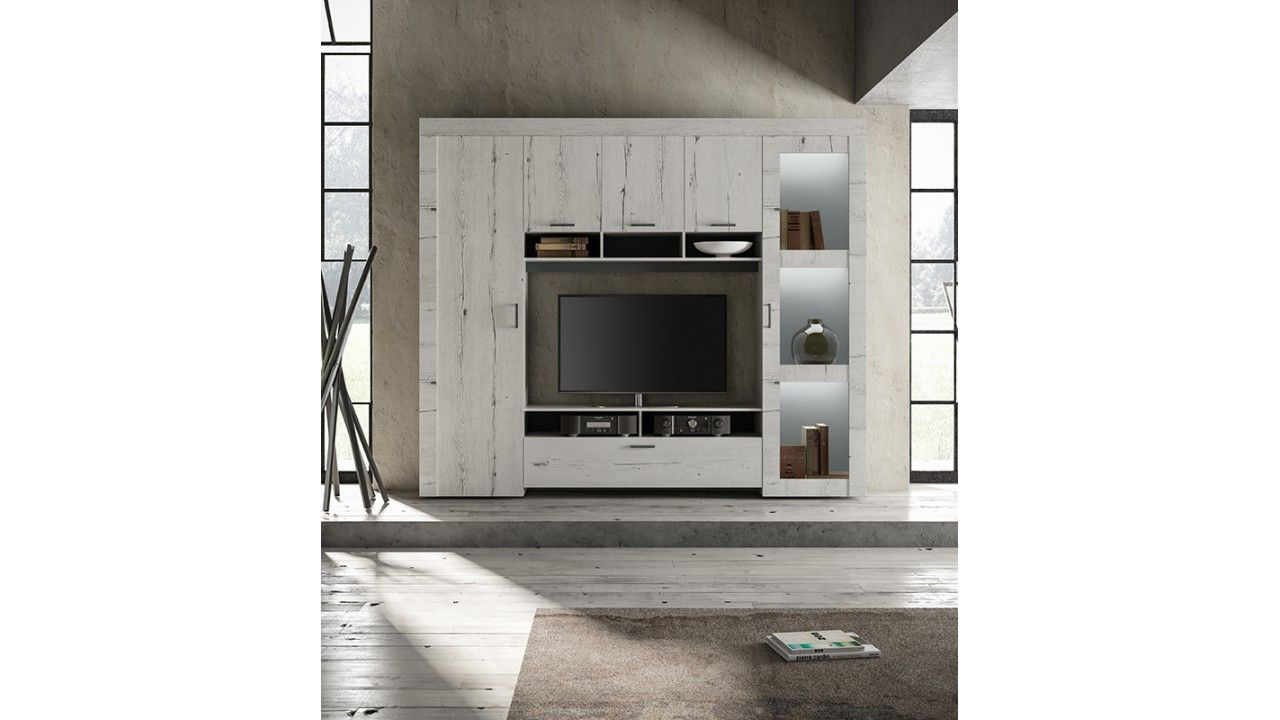 Meuble Tv Mural Design En Ch Ne Blanchi Alessandra Meuble Tv  # Meuble Tv En Chene Blanchi