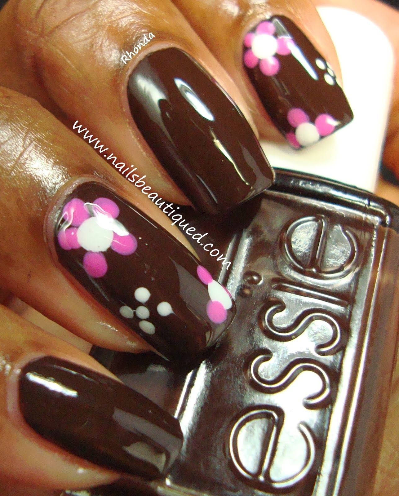 Essie Little Brown Dress with pink and white petal flowers | Nails ...