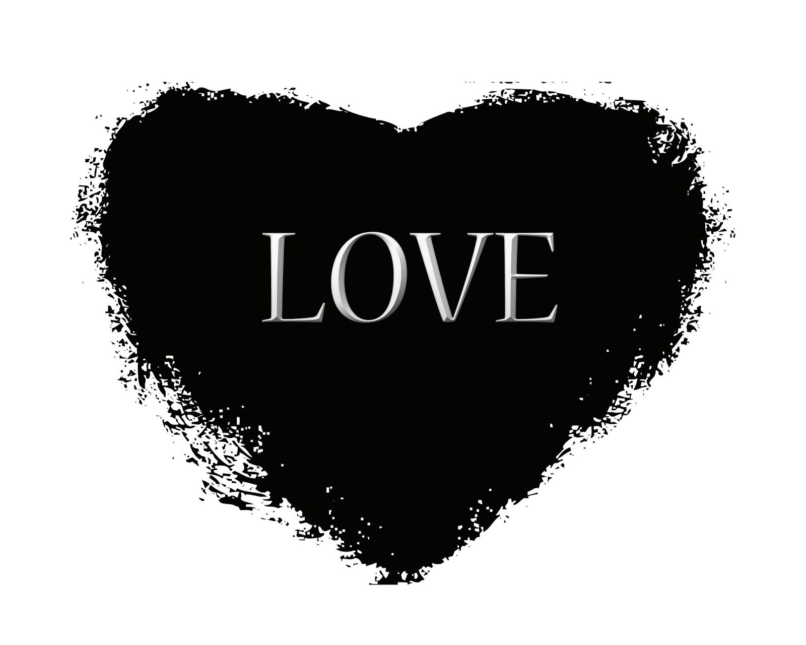 Printable Black And White Art 8X10 Black Heart With Love -1584