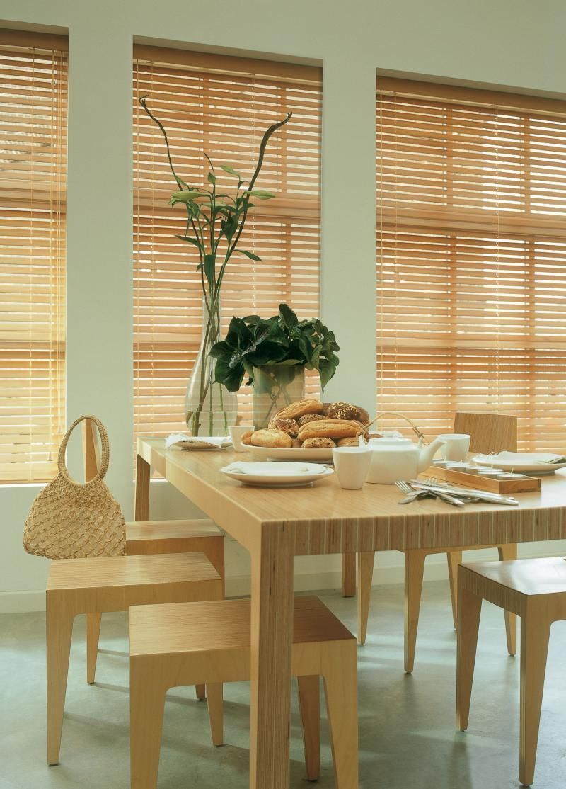 Window top decor  interesting beige blinds for the kitchen with wooden dining table