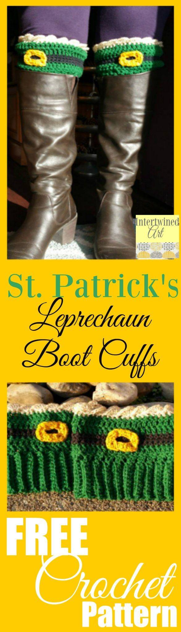 St. Patrick's Day Leprechaun Crochet Boot Cuffs #bootcuffs