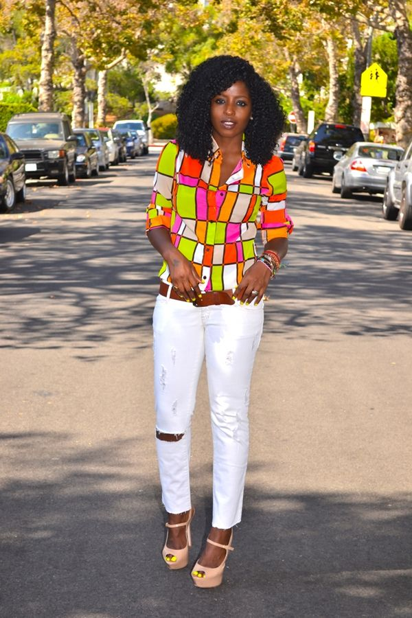 Best Style Pantry Neon Color Block Shirt Distressed White 640 x 480