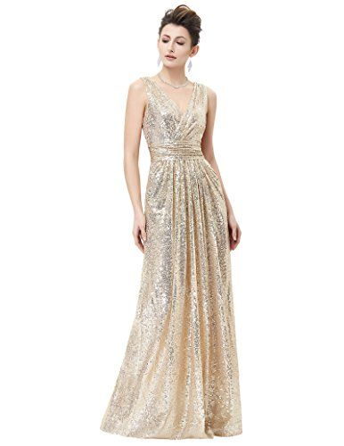 e27050b350d1 Pleated A-line Low Cut Back Zip Up Dress for Formal Party Light Gold Size 8  KK199 * Check out the image by visiting the link.