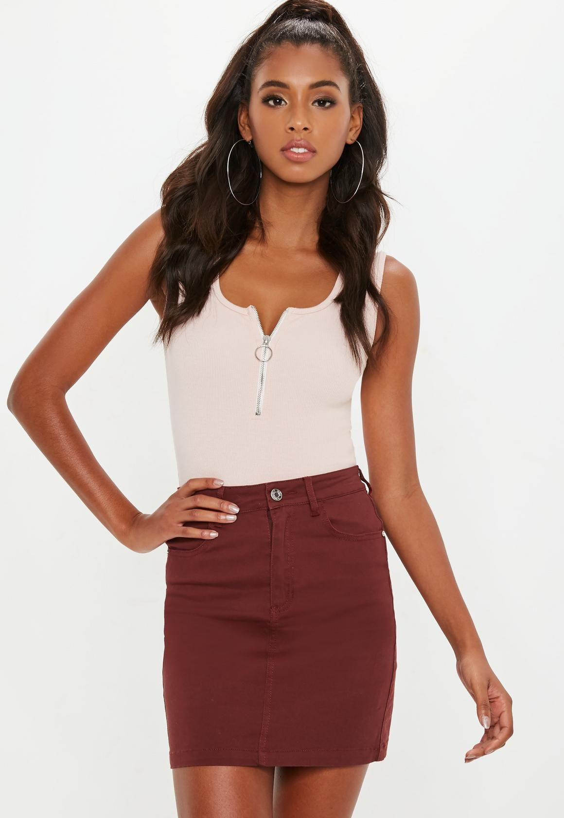 694108938828 Missguided - Brown Superstretch Denim Mini Skirt