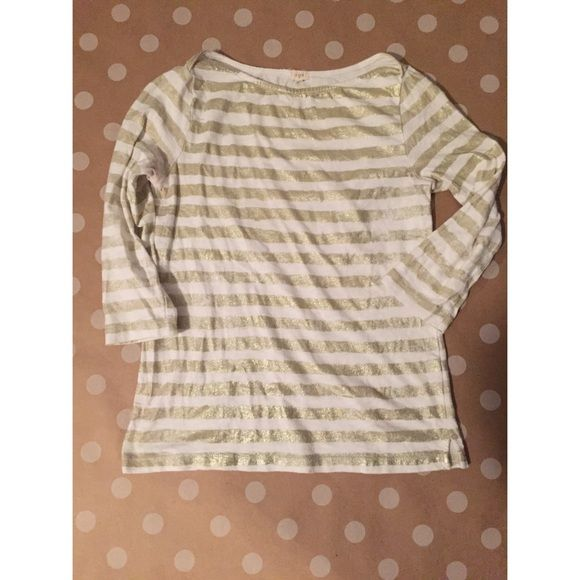 Jcrew gold striped shirt Gorgeous metallic stripes, boat neck, 3/4 length sleeves. Perfect piece for any time of year! J. Crew Tops Tees - Long Sleeve