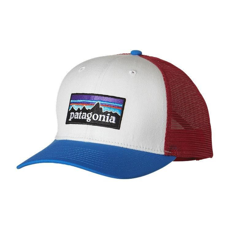 d93cb0cf1fd Patagonia P-6 LoPro Trucker Hat- White with Andes Blue from Shop Southern  Roots TX