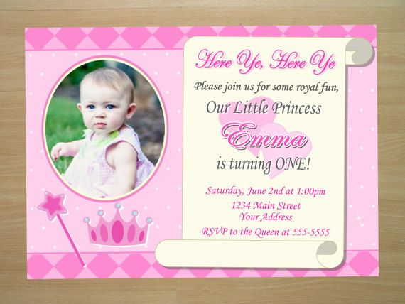 Custom Princess 1st Birthday Invitation by SquigglesDesigns 1000