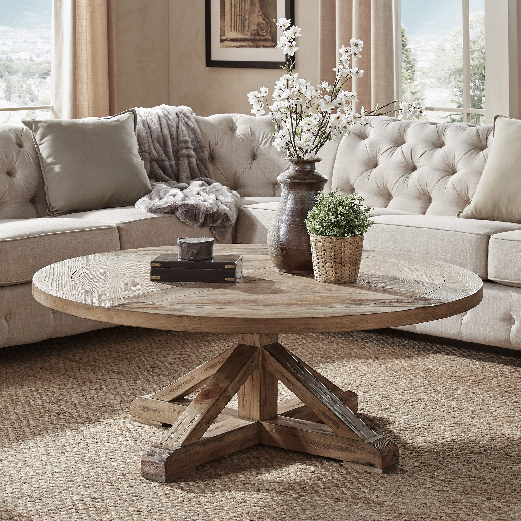 Benchwright Rustic X-Base Round Pine Wood Coffee Table by iNSPIRE Q Artisan | Coffee table ...