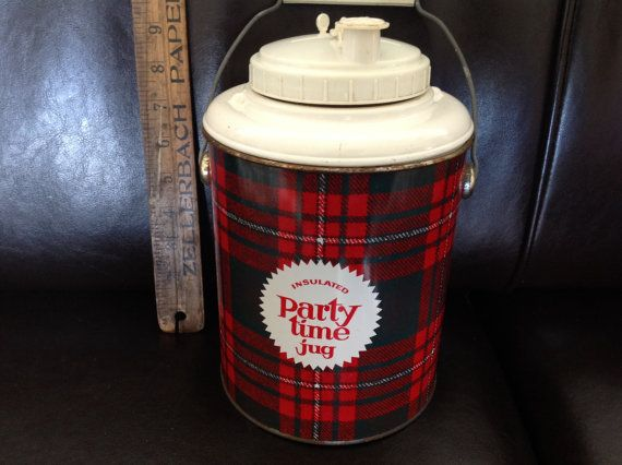 Vintage Thermos Party Time Plaid Jug by UsedoldSuff on Etsy