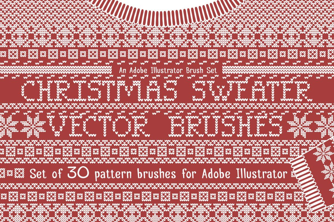 Christmas sweater knit patterns - a set of vector brushes for adobe ...