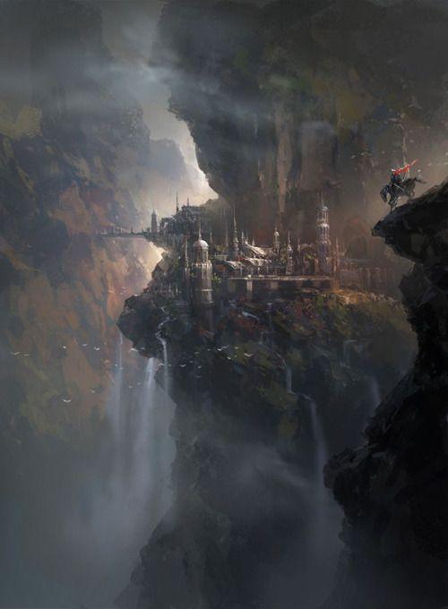 Fantasy Art Engine Paisagem Fantasia Cidade De Fantasia Paisagem Desenho