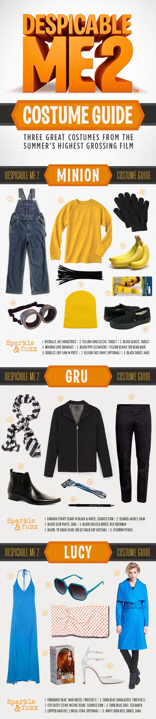 Despicable Me 2 Costume Guide Gru Lucy and the Minions & An awesome costume guide for the whole family Ladies look fly in ...
