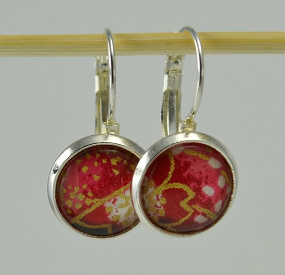 FREE SHIPPING in US Japanese Blossom Earrings  by sparklewonder, $12.00