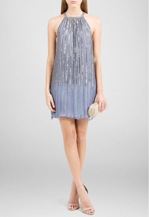 PowerLook Aluguel de Vestidos Online -POWERLOOK Vestido Wendy curto com decote trapézio Powerlook - azul #wendy #vestidocurto #decotetrapezio #vestidoazul #vestidofesta #vestidocasamento #vestidomadrinha #madrinha