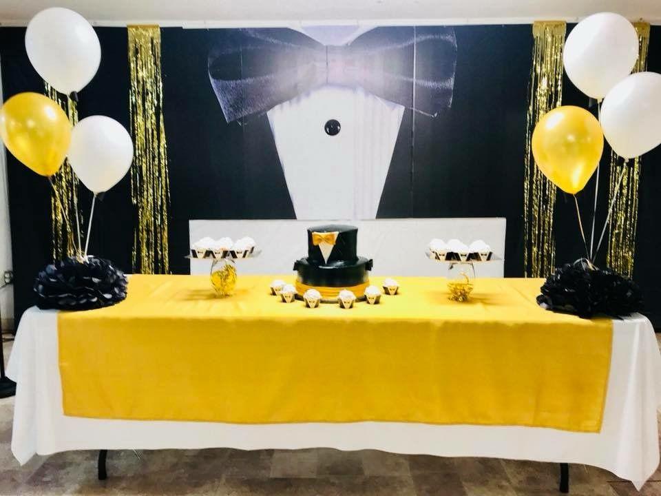 Tuxedo Backdrop And Birthday Decoration Black Gold And White