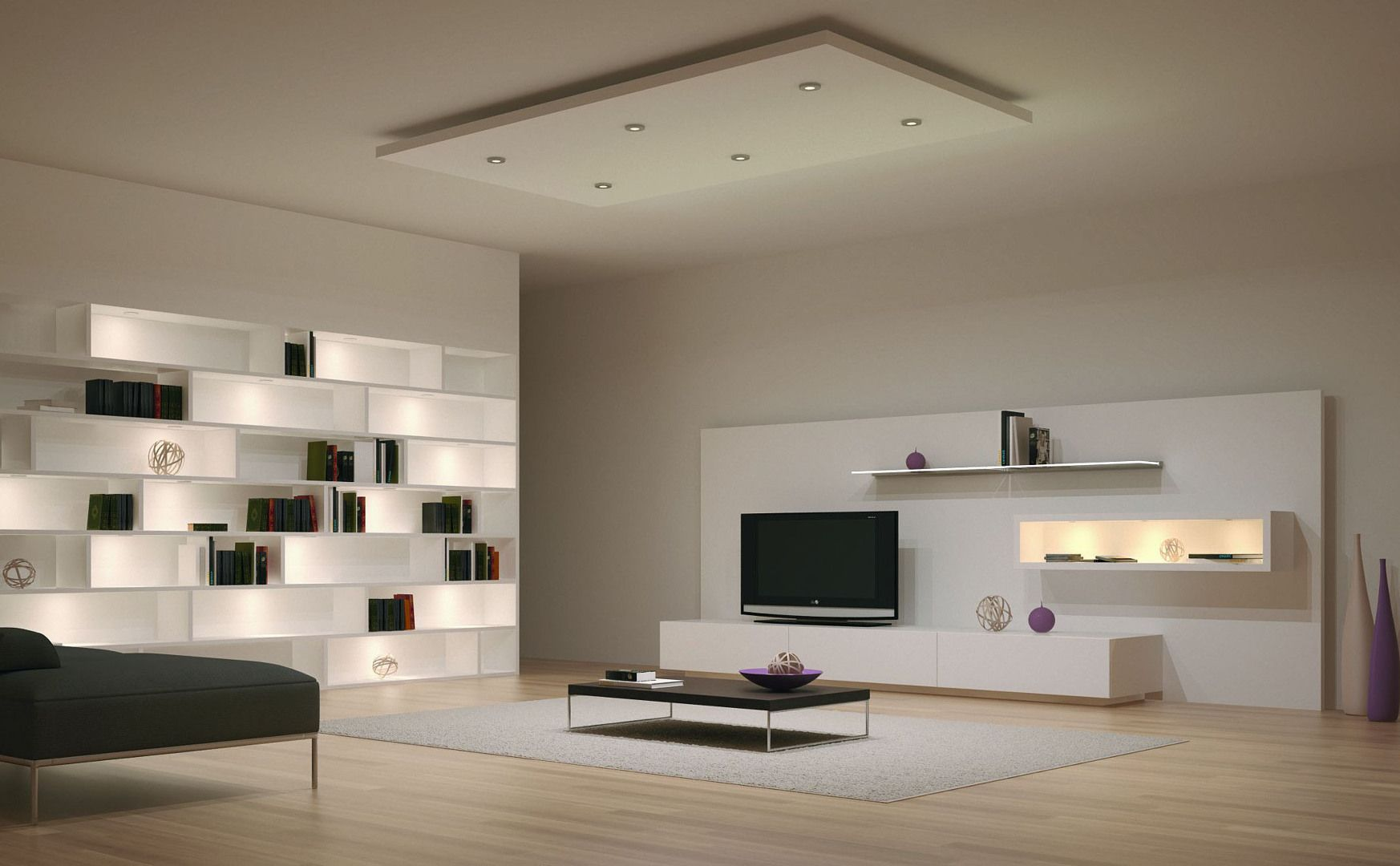 Illuminazione a led per salotto cartongesso living room lighting