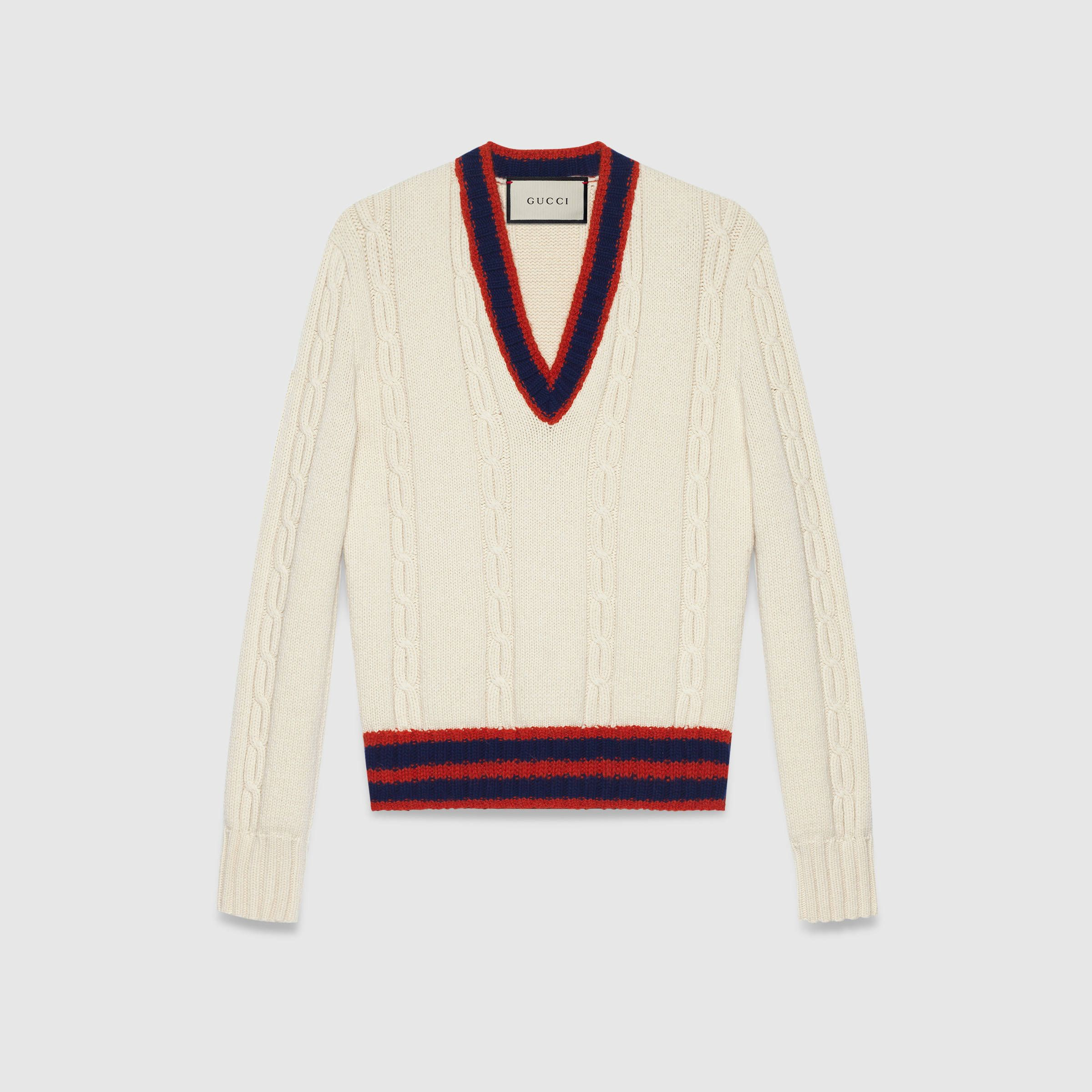 Gucci Cable-knit sweater with Web