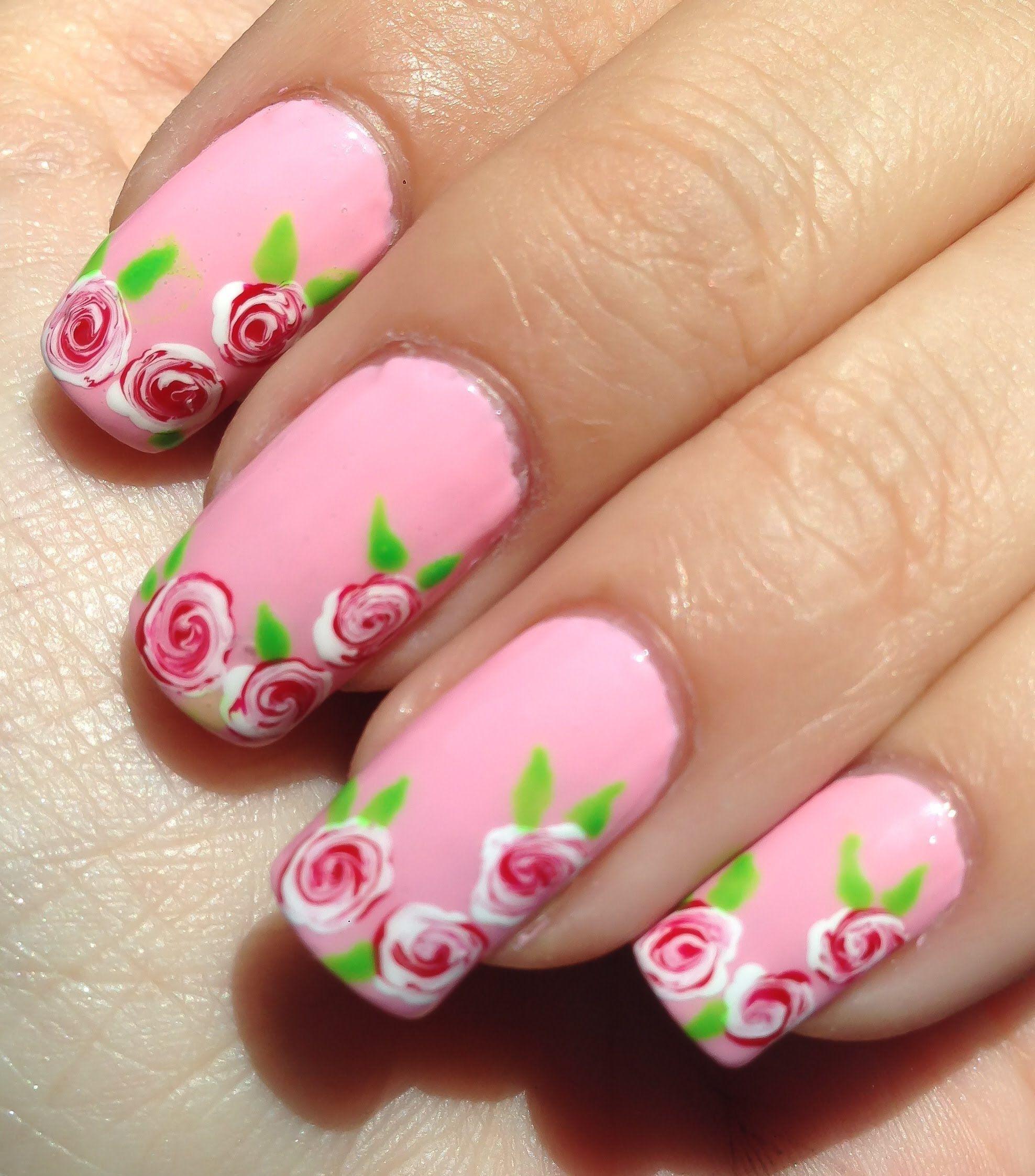 Facil diseño de uñas con rosas blancas y rojas | Nails ...