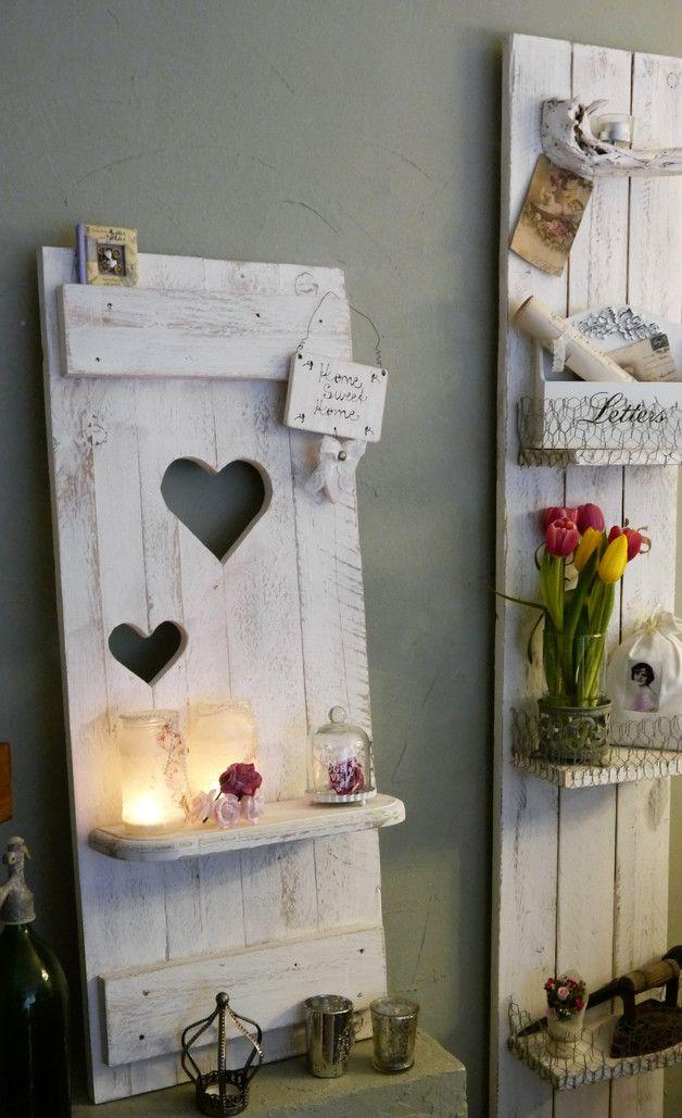 Shabby DEKO Fensterladen Herz Regale Holz altweiß | Fensterläden ...