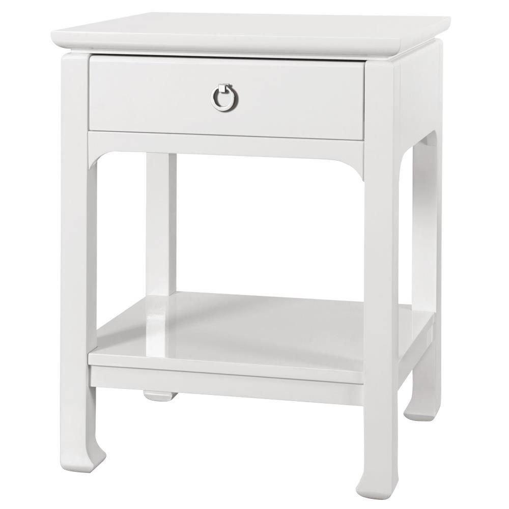 drawer regency white lacquer nightstand